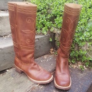 🌹STETSON Rustic Stovepipe Round Toe Boots Sz 7